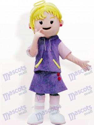 Chica de fiesta de hadas en vestido morado Disfraz de mascota