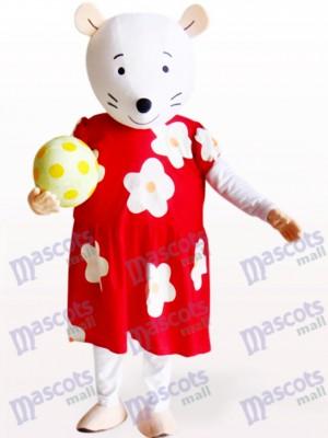 Ratón blanco con vestido floral rojo y blanco Disfraz de mascota