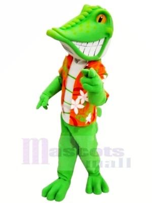 Lagarto verde sonriente Disfraz de mascota