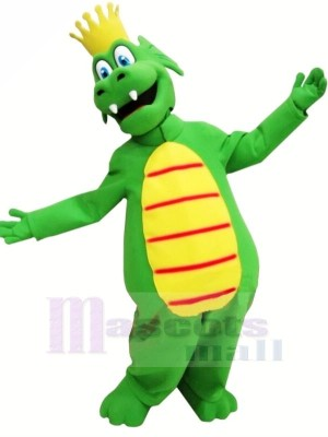 Rey Dragón Verde Disfraz de mascota