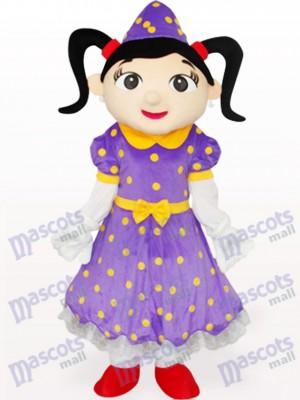 Chica en vestido morado Disfraz de mascota