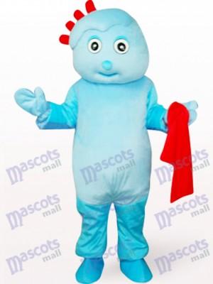 Chico lindo en ropa azul Disfraz de mascota