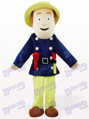 Bombero en ropa azul Disfraz de mascota