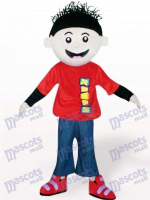 Chico de pelo negro en tela roja Disfraz de mascota
