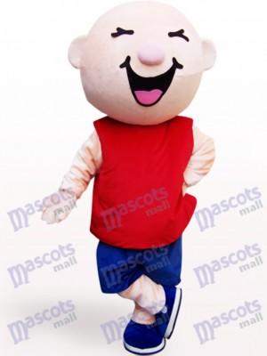 Chico cabeza redonda en chaleco rojo Disfraz de mascota Dibujos animados