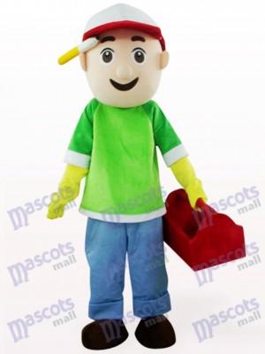 Chico vendedor en abrigo verde y azul Disfraz de mascota Dibujos animados