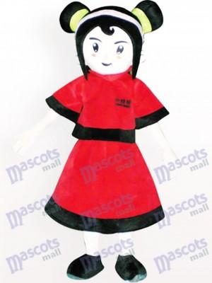 Chica vestida de rojo Disfraz de mascota