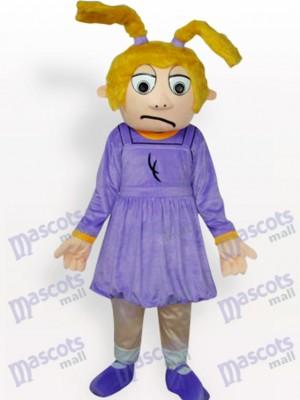 Chica triste con vestido morado Disfraz de mascota