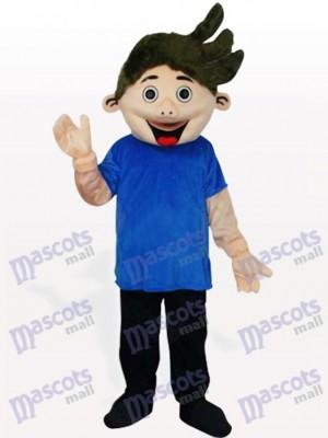 Niñito en camisa azul Disfraz de mascota