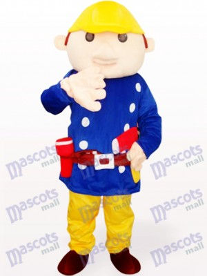 Ingeniero Baboo en abrigo azul Disfraz de mascota