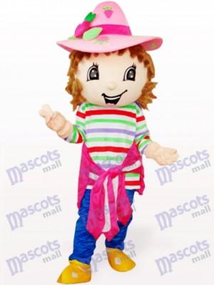 Chica divertida tarta de fresa colorida Disfraz de mascota