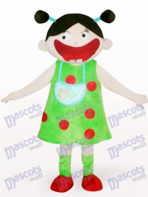Chica árabe en vestido verde Disfraz de mascota