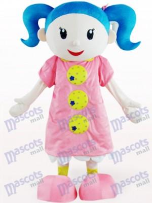 Linda chica en vestido rosa Disfraz de mascota