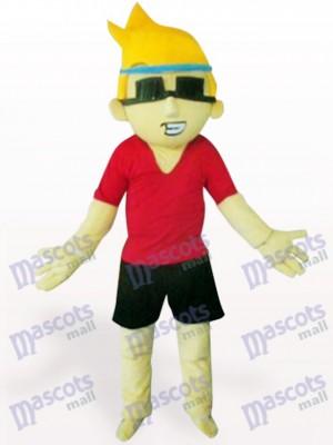 Chico de gafas de sol con pelo amarillo Disfraz de mascota