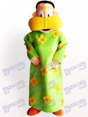 Mujer gorda en ropa verde Disfraz de mascota