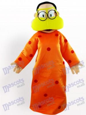 Mujer gorda en ropa naranja Disfraz de mascota