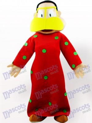 Mujer gorda en ropa roja Disfraz de mascota