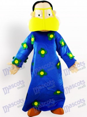 Mujer gorda en ropa azul Disfraz de mascota