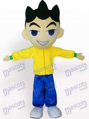 Cabeza grande Chico En ropa amarilla Disfraz de mascota