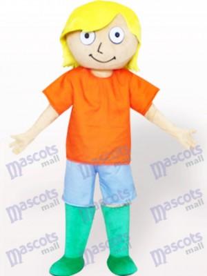 Chico de pelo amarillo con camiseta naranja Disfraz de mascota
