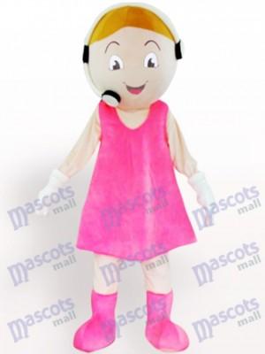 Representante de servicio al cliente adulto de felpa en vestido Rosa Disfraz de mascota