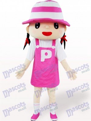 Chica de sombrero rosa Disfraz de mascota