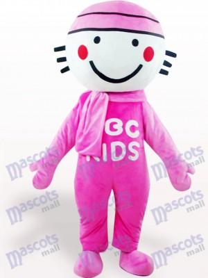 Muñeca de cabeza redonda rosa Disfraz de mascota
