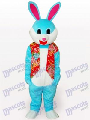 Conejito de Pascua azul con chaleco rojo Disfraz de mascota Animal