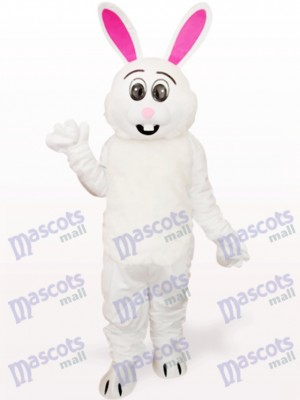 Conejo de Pascua Blanco con Oreja Rosada Disfraz de mascota Animal