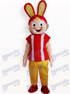 Conejo de Pascua con abrigo rojo Adulto Disfraz de mascota