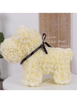 Beige Perro cachorro rosa Perro Cachorro Flor El mejor regalo para el Día de la Madre, San Valentín, Aniversario, Bodas y Cumpleaños