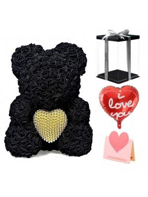 Negro Osito de peluche rosa Oso de flores con Corazón de perla El mejor regalo para el Día de la Madre, San Valentín, Aniversario, Bodas y Cumpleaños