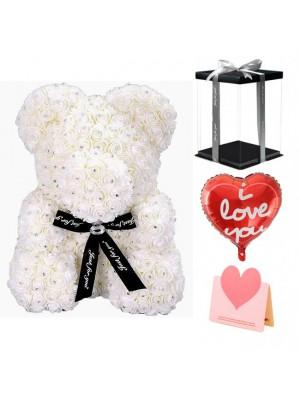 Diamante blanco Osito de peluche rosa Oso de flores El mejor regalo para el Día de la Madre, San Valentín, Aniversario, Bodas y Cumpleaños