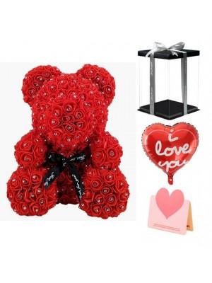 Diamante rojo Osito de peluche rosa Oso de flores El mejor regalo para el Día de la Madre, San Valentín, Aniversario, Bodas y Cumpleaños