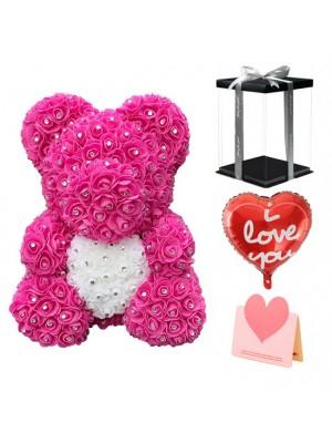 Diamante Rosa Osito de peluche rosa Oso de flores con corazón blanco El mejor regalo para el Día de la Madre, San Valentín, Aniversario, Bodas y Cumpleaños