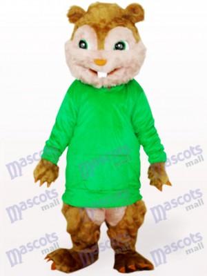 Ardilla en abrigo verde con pelo largo y dientes cortos Disfraz de mascota Animal