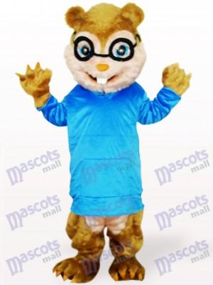 Ardilla en abrigo azul con pelo largo y dientes cortos Disfraz de mascota Animal