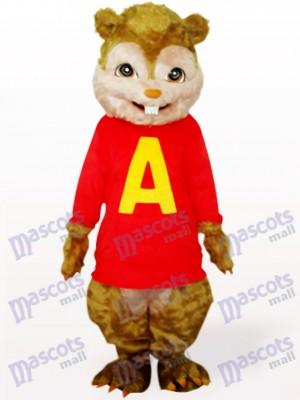 Ardilla en abrigo rojo con pelo largo y dientes cortos Disfraz de mascota Animal