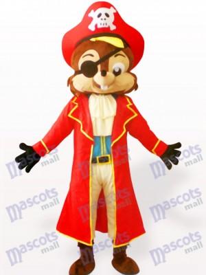 Ardilla pirata en sombrero rojo Disfraz de mascota Animal