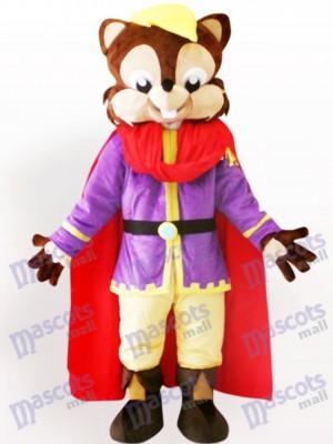 Ardilla fresca con capa roja Disfraz de mascota Animal
