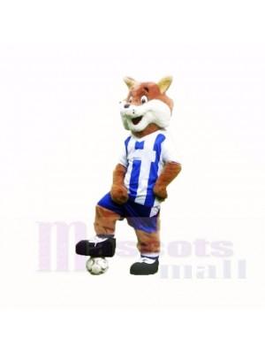 Fútbol Fox con camiseta azul y blanca Disfraz de mascota
