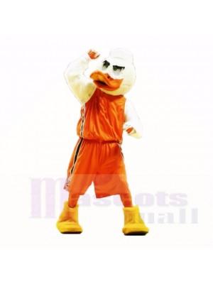 Pato deportivo con camisa naranja Disfraz de mascota