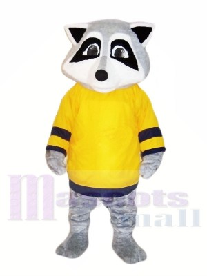 Lindo mapache con camiseta amarilla Disfraz de mascota