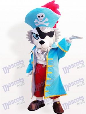 Lobo pirata con sombrero azul Disfraz de mascota Animal