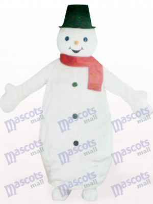 Muñeco de nieve barrigón con sombrero negro Navidad navidad Disfraz de mascota