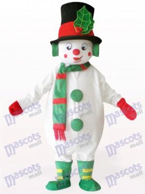Monigote de nieve con sombrero verde Navidad navidad Disfraz de mascota