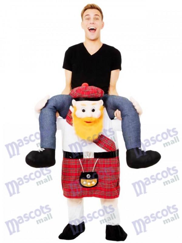 Escocés a cuestas Llévame Seguir adelante escocés Disfraz de mascota