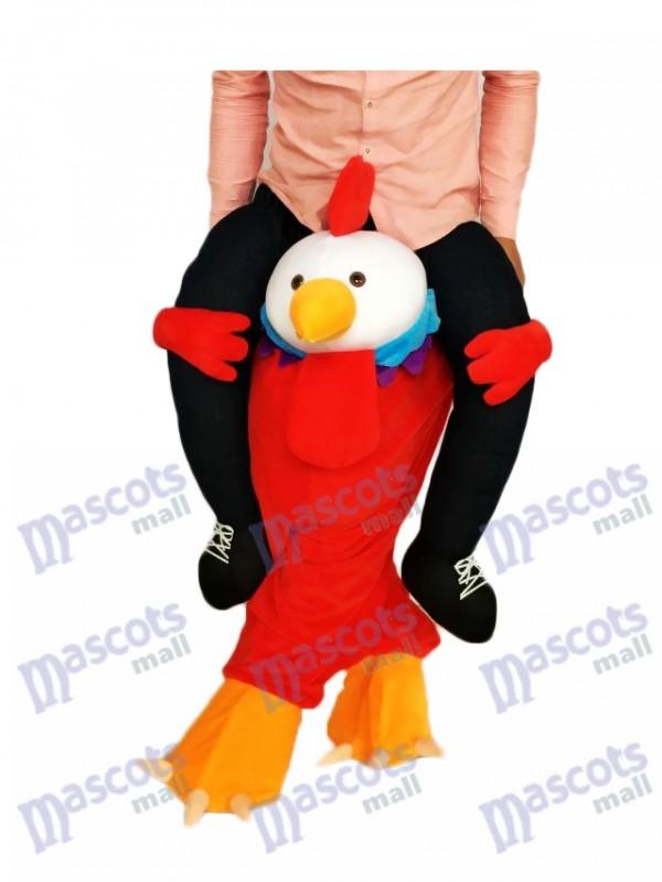 A cuestas Pollito rojo Llévame paseo en gallo Disfraz de mascota