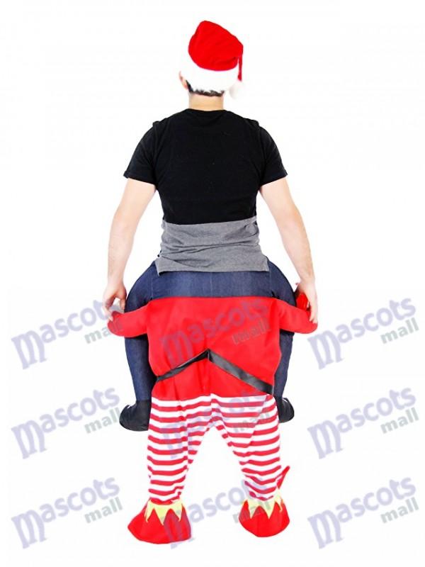 Elfo a cuestas Llévame Seguir adelante Elfo rojo Disfraz de mascota