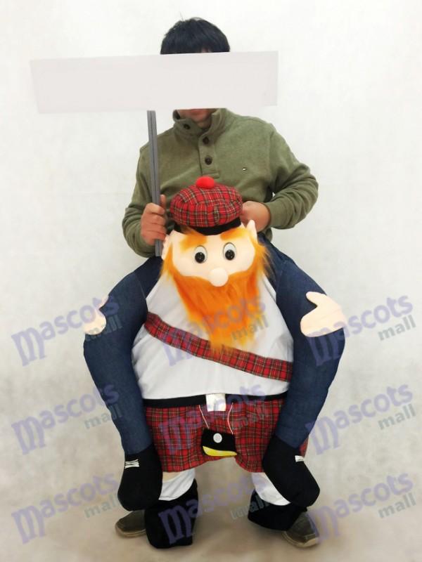 Gracioso escocés en gris Carry Me Ride People Disfraz de mascota